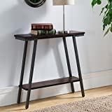 Contemporary Hall Table with Lower Storage Shelf with Brown Walnut Finish and Bronzed Legs Textured Legs. 30 in Wide x 10 in Long x 30 in High - Assembly Required