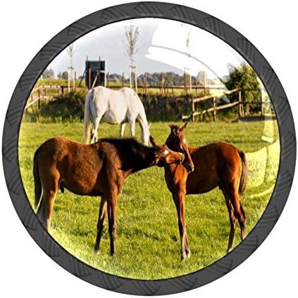 Ladeknoppen Set van 4 Bruine Paarden Kussen Weiden Grazing Cabinet Meubelknoppen Lade Trekt Handvat Kristal Glas Kast Knoppen met Schroeven voor Keuken Dressoir