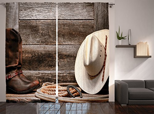 Ambesonne Western Decor Collection, American West Rodeo Traditional Straw Cowboy Hat with Authentic Leather Boots Print, Window Treatments, Living Room Bedroom Curtain Set, 108 X 90 Inches, Ecru Brown - American Farmhouse Bedroom Collection
