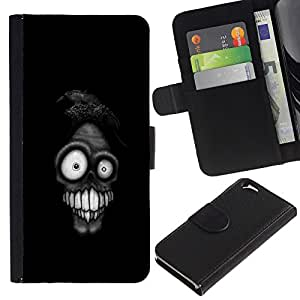 KingStore / Leather Etui en cuir / Apple Iphone 6 / Funny Face Weird Skull