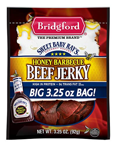 Bbq Beef Honey (Bridgford Sweet Baby Ray's Honey Barbecue Beef Jerky, High Protein, Zero Trans Fat, Made With 100% American Beef, 3.25 oz, Pack of 3)