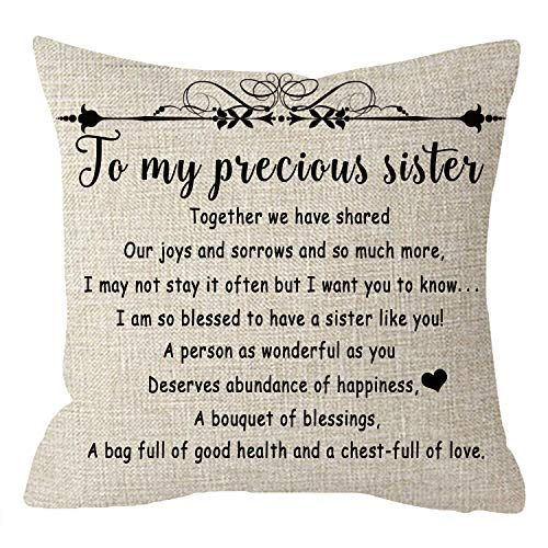 Pillow Sister Throw (NIDITW Nice Wedding Gift to Sister in Law Friend with Inspirational Quote Sayings Waist Lumbar Body Beige Cotton Burlap Linen Throw Pillow Case Cushion Cover Home Chair Couch Decor Square 18 inches)