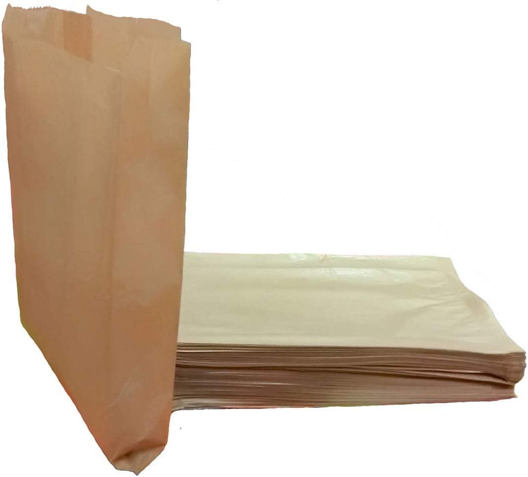 BUZIFU Bolsas de Papel para Alimentos sin Asas 100pcs Bolsas de Papel Kraft Marr/ón con Base 18*9*5,5cm Bolsas de Papel para Bocadillos Pan y Dulces Bolsas de Papel Biodegradables para Boda y Fiesta
