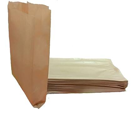 Yearol KC01 100 Bolsas de Papel Kraft estraza. 31 * 18 * 7 para bocadillos, Sandwich, merienda, Palomitas, Almuerzo, Pan, Croissant, Churros, chuches, ...