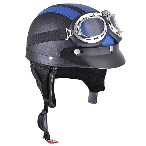 31 Open Face Motorcycle Helmet - Retro Motorcycle Scooter Harley Half Helmet Open Face Goggles Scarf Color Opt (Blue)
