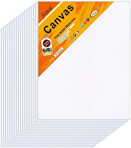 Canvas Boards 18 Pack 8x10 Inches, Canvas Panels Value Pack for Oil & Acrylic Painting, 100% Cotton