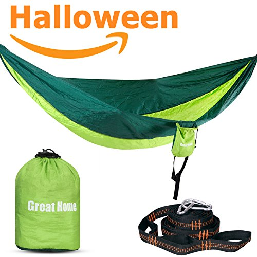 Double Camping Hammock with Hammock Straps 2017 Upgraded Great Home Best Nylon Pocket Portable (Lazy Daisy Stitch)