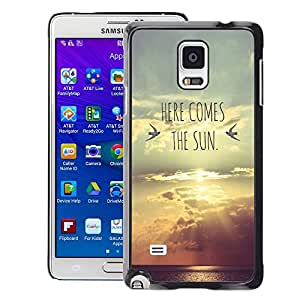 A-type Arte & diseño plástico duro Fundas Cover Cubre Hard Case Cover para Samsung Galaxy Note 4 (Here Comes The Sun Lyrics Band Sunset)