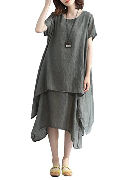 a88253e88d5f Romacci Women Casual Loose Dress Solid Short Sleeve Cotton Linen  Asymmetrical Boho Midi Long Dress Red Grey Khaki  Amazon.co.uk  Clothing