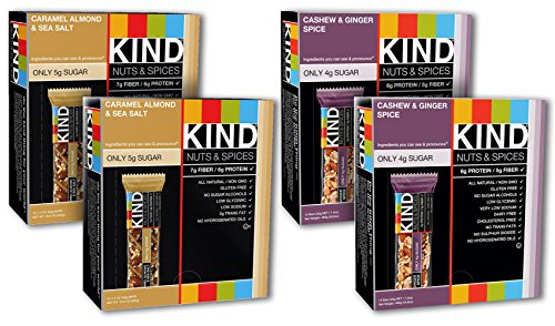 KIND Nuts & Spices, 24 Caramel Almond and Sea Salt Bars + 24 Cashew & Ginger Spice Bars by KIND