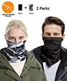Lightweight Neck Gaiter Warmer Mask - Black Camo Women Men Kids Conversible Infinity hidden zipper pocket scarf Thermal Cycling Running Bandana Cold Wind, Dirt Outdoor Sport