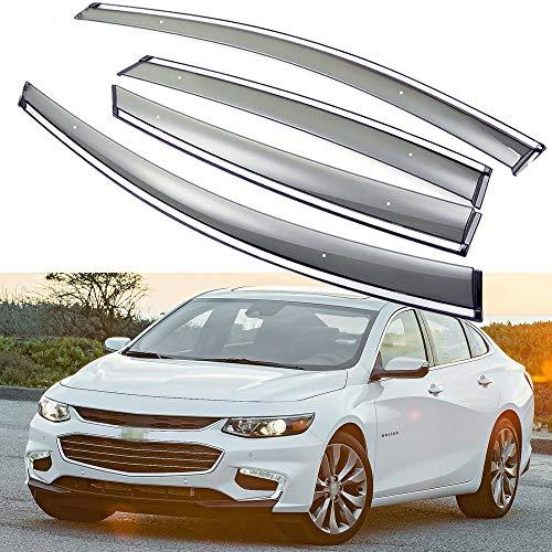 (SPEEDLONG 4Pcs Car Window Visor Vent Shade Deflector Sun/Rain Guard for Chevrolet Malibu 2016 2017 2018 2019)