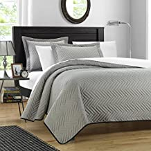 Chic Home QS2500-US Mateo Chevron Blocks Quilt Set - Silver - Twin - 2 Piece
