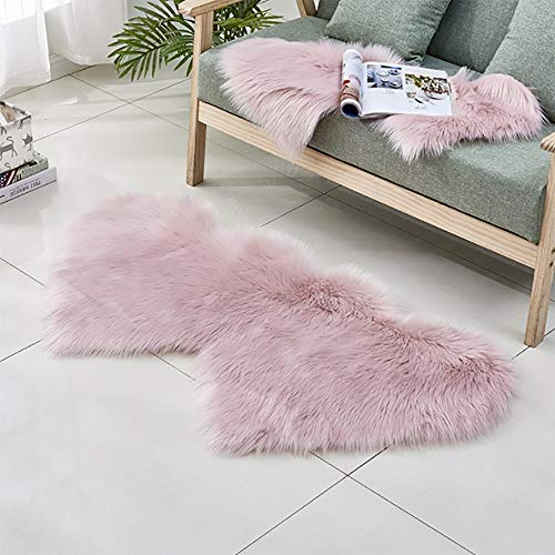 YLXD Wool Imitation Sheepskin Rugs Faux Fur Non Slip Bedroom Shaggy Carpet Mats,Bed Mat Sofa Mat,Heart Shape Leather Bed Blanket Plush Soft for Bedroom ()