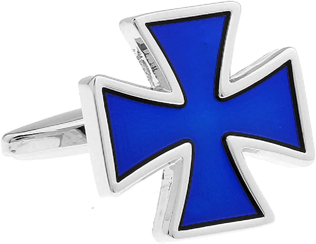 MRCUFF Cross Blue Pair Cufflinks in a Presentation Gift Box & Polishing Cloth