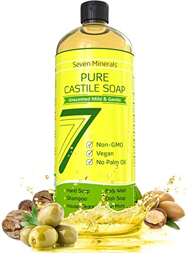 Pure Castile Soap 33.8 oz - NO Palm Oil, GMO-Free - UNSCENTED MILD & GENTLE Liquid Soap For Sensitive Skin & Baby Wash - All Natural Vegan Formula with Organic Carrier Oils