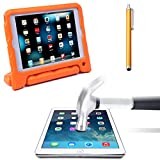 HDE iPad Mini Case Kids Shock Proof Foam Cover Stand for Apple iPad Mini / 2 / 3 + Glass Screen Protector + Stylus (Orange Quilted)