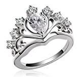 Aeici Jewelry, Silver Black Gold Plated Rings for Women Heart Cubic Zirconia Princess Crown Tiara Ring