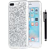 Image of iPhone 7 Plus Case, Asstar Luxury Bling Glitter Sparkle Cover Shinning Protective Flexible Soft Rubber TPU Bumper Case Cover for 5.5 inches Apple iPhone 7 Plus + Stylus Pen (Silver)
