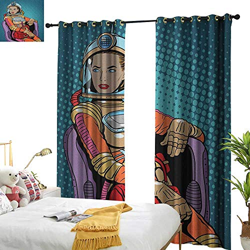 Littletonhome Sliding Curtains Astronaut Retro Inspired Space Lady with Purse on a Chair Girl Power Womens Day Set of Two Panels W108 x L96 Petrol Blue Multicolor