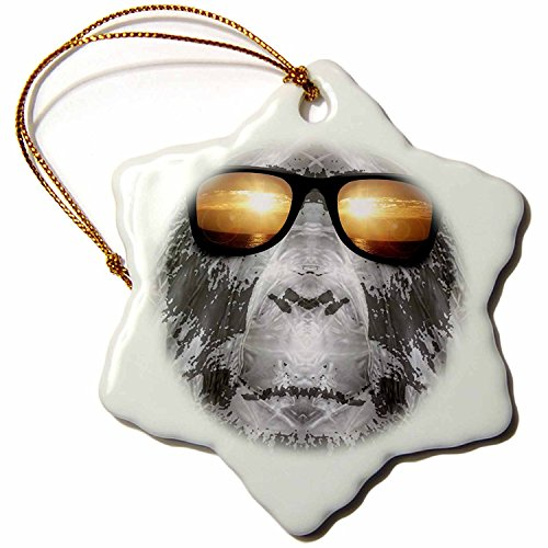 Perkins Designs Bigfoot in Shades Bigfoot or Sasquatch is Pictured Snowflake Porcelain Ornament, 3-Inch