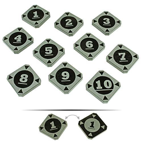 Lock Target - LITKO Space Fighter 2nd Edition Double-Sided Target Lock Token Set 1-10, Black (10)