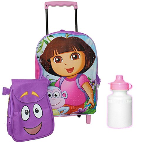 New Dora the Explorer Back Pack Lunch Box Wheels Rolling Roller Book Bag Boots