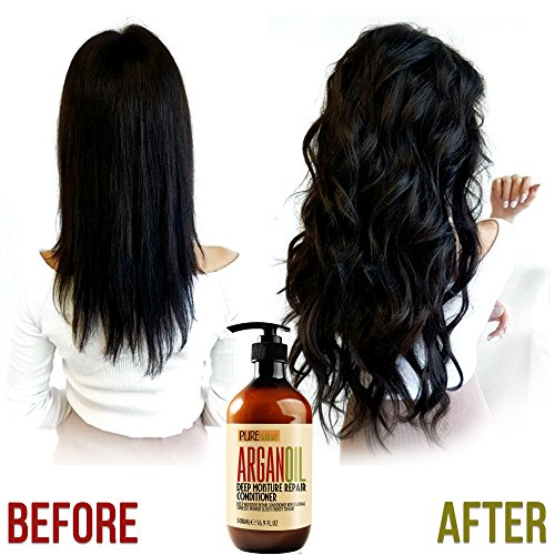 Review Moroccan Argan Oil Conditioner SLS Sulfate Free Organic – Best Hair Conditioner for Damaged, Dry, Curly or Frizzy Hair – Thickening for Fine / Thin Hair, Safe for Color and Keratin Treated Hair
