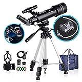 BNISE 70mm Portable Refractor Telescope & HD Binoculars, Fully Coated Glass Optics, Ideal