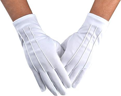 JISEN hombres policía formal esmoquin honor guardia desfile de nylon algodón guantes 26cm Blanco 1 par. Talla única: Amazon.es: Ropa y accesorios