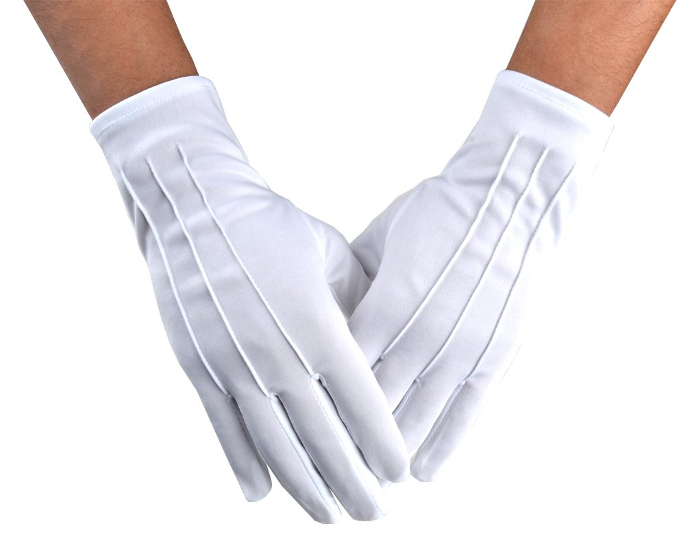 JISEN Men Police Formal Tuxedo Honor Guard Parade Nylon Cotton Gloves 26cm Black CMG00384