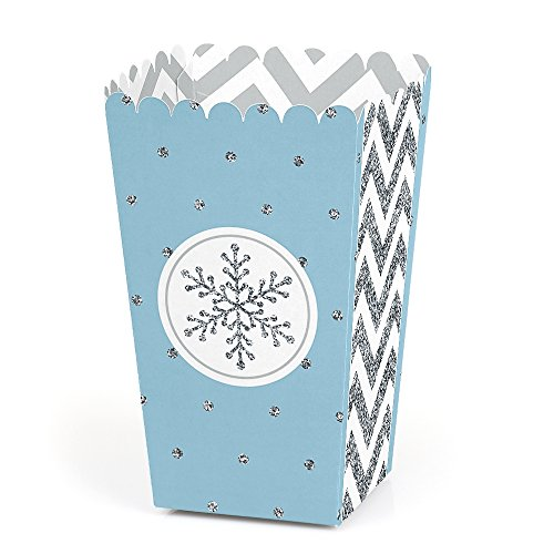 Winter Wonderland Holiday Gift (Big Dot of Happiness Winter Wonderland - Snowflake Holiday Party & Winter Wedding Popcorn Treat Boxes - Set of 12)