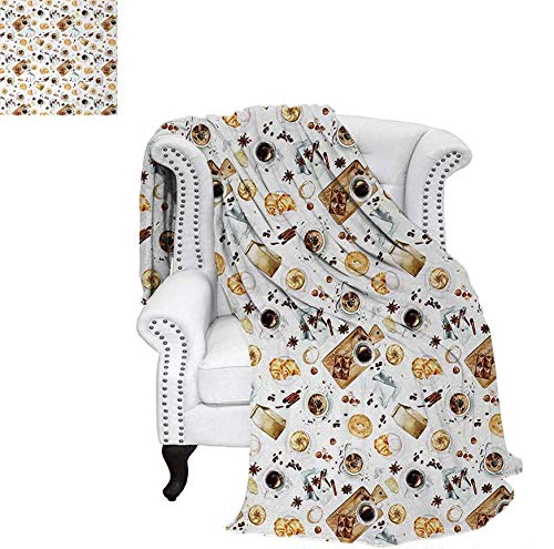 Warm Microfiber All Season Blanket for Bed or Couch Lunch Table with Croissant Bagels Coffee Cheese Chocolate Watercolor Artwork Throw Blanket 70