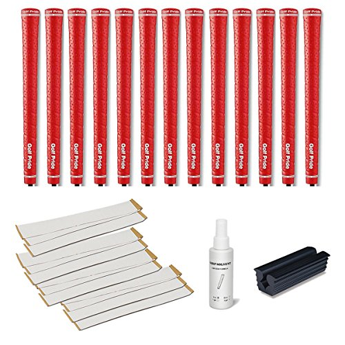 Golf Pride Tour Wrap 2G Grip Kit (13-Piece), Red (Red Leather Grip)