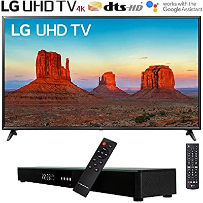"LG 55UK6090PUA 55"" 4K HDR Smart LED UHD TV with Soundbar Bundle Includes, Deco Gear Home Theater Surround Sound 31"" Soundbar and 6ft Optical Toslink 5.0mm OD Audio Cable"