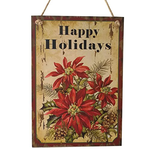 OULII Wooden Christmas Sign Plaque Wall Hanging Christmas Flower Happy Holidays Sign Christmas Gift (Happy Holidays Sign)