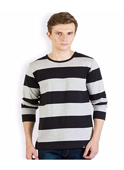 61d4827636a Rigo Black and Grey Striped T Shirt  Amazon.in  Clothing   Accessories