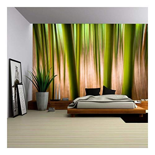 wall26 - Abstract Nature Landscape Background Motion Blur Effect Bamboo Forest - Removable Wall Mural | Self-Adhesive Large Wallpaper - 100x144 inches -