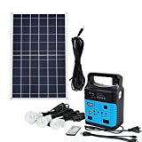 ECO LLC 10W Portable Solar Generator Kit Emergency Power Supply Included 10W Solar Panel &Rechargeable Solar Generator with USB Port &3 Sets LED Lamps Ideal For RV Boat Camping Outdoors(Blue)