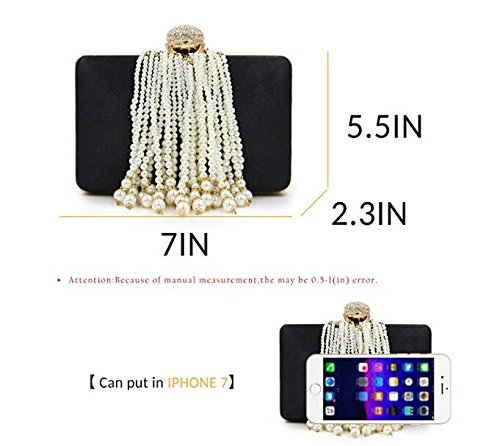 Bags Beaded Evening Bag Cross Purse Clutch Women Body Pearl Satin Handbag Yellow Clutches Tassel Totes 47EnwIqg