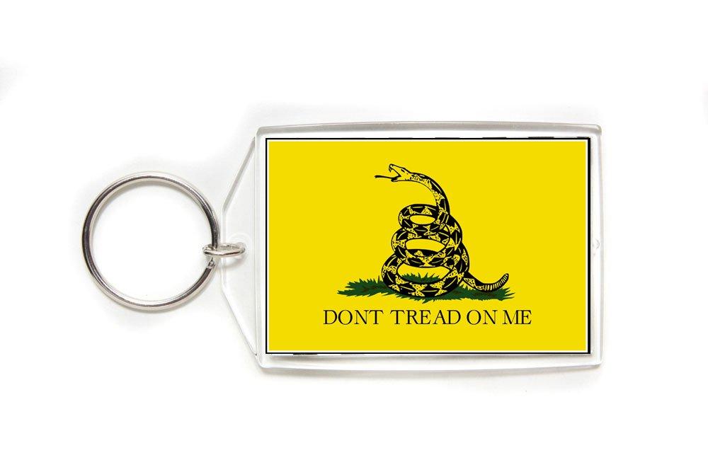Gadsden Flag Double Sided Acrylic Key Ring Large Tea Party Rattlesnake
