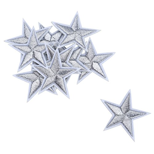 HOUSWEETY 10pcs Silvery Star Embroidered Iron On/Sew On Badge Applique Patch ()