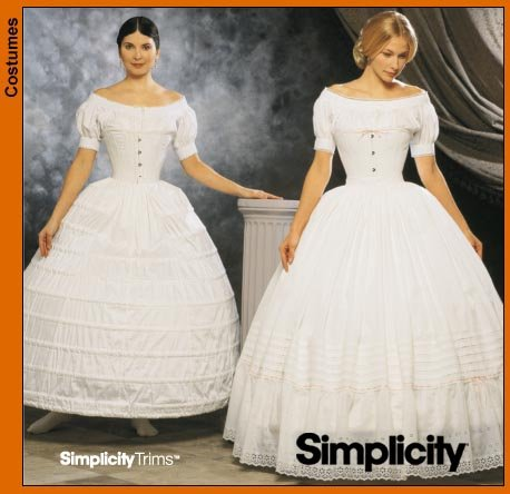 (Simplicity 9764 Sew Pattern Misses Civil War Crinoline / Hoopskirt and Petticoat SIZE 6-12)