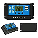 Binen 12V/24V Solar Charge Controller 10A Charge Regulator Intelligent, USB Port, LCD Display Overload Protection (10A-Blue)