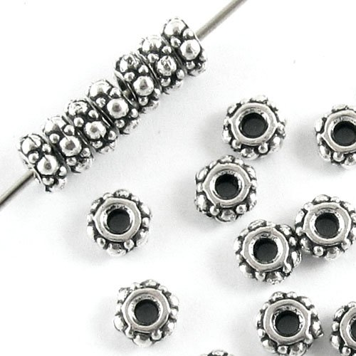 TierraCast Pewter Beads-SILVER TURKISH SPACERS 4mm (25)