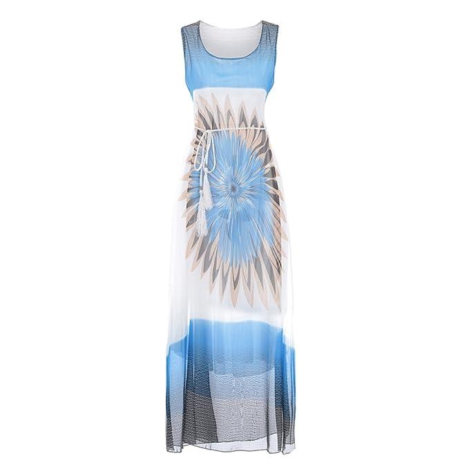 Damen boho kleid lang Strandkleider Beach MaxiKleid Sommerkleider ...