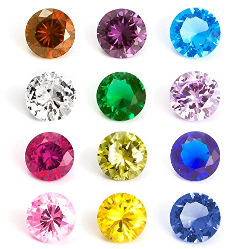 Citrine Round Charm (RUBYCA Mix Color Round Birthstone Crystal Glass Floating Charms fit Living Memory Locket 5mm 12 Pcs)