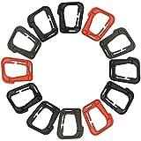 Tactical Plastic D-Ring Locking Hanging Hooks, FineGood 12 Pack Lightweight Multipurpose Carabiners for Molle Webbing - Brown, Black, Orange, Khaki