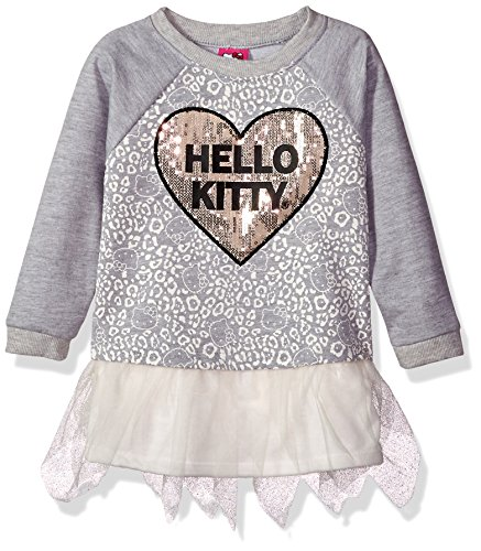 Hello Kitty Toddler Girls' Embellished Tutu Dress, Gray Sequin, 4T
