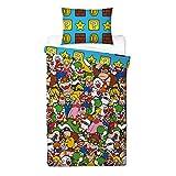 Official Nintendo Mario Gang Reversible UK Single/US Twin Duvet Cover Matching Pillow Case Bedding Set